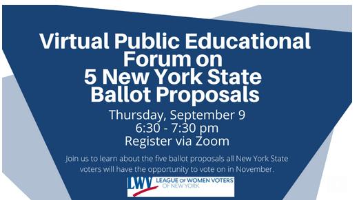 Virtual Public Educational Forum on 5 NYS Ballot Proposals