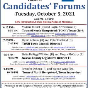 Candidates' forums announcement for October 5, 2021