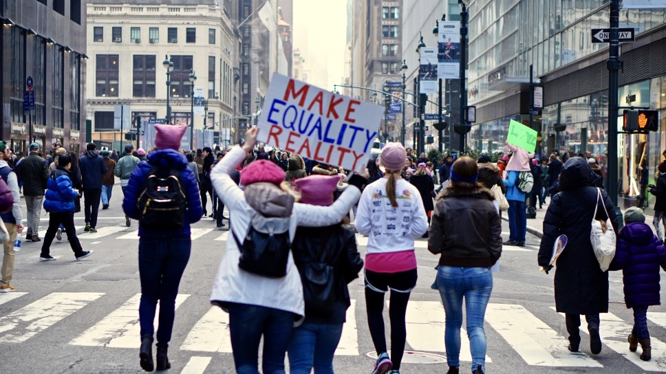 Women marching to ratify the Equal Rights Amendment