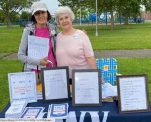 Grace Felicetti and Ginny Carew at Voter Registration Drive