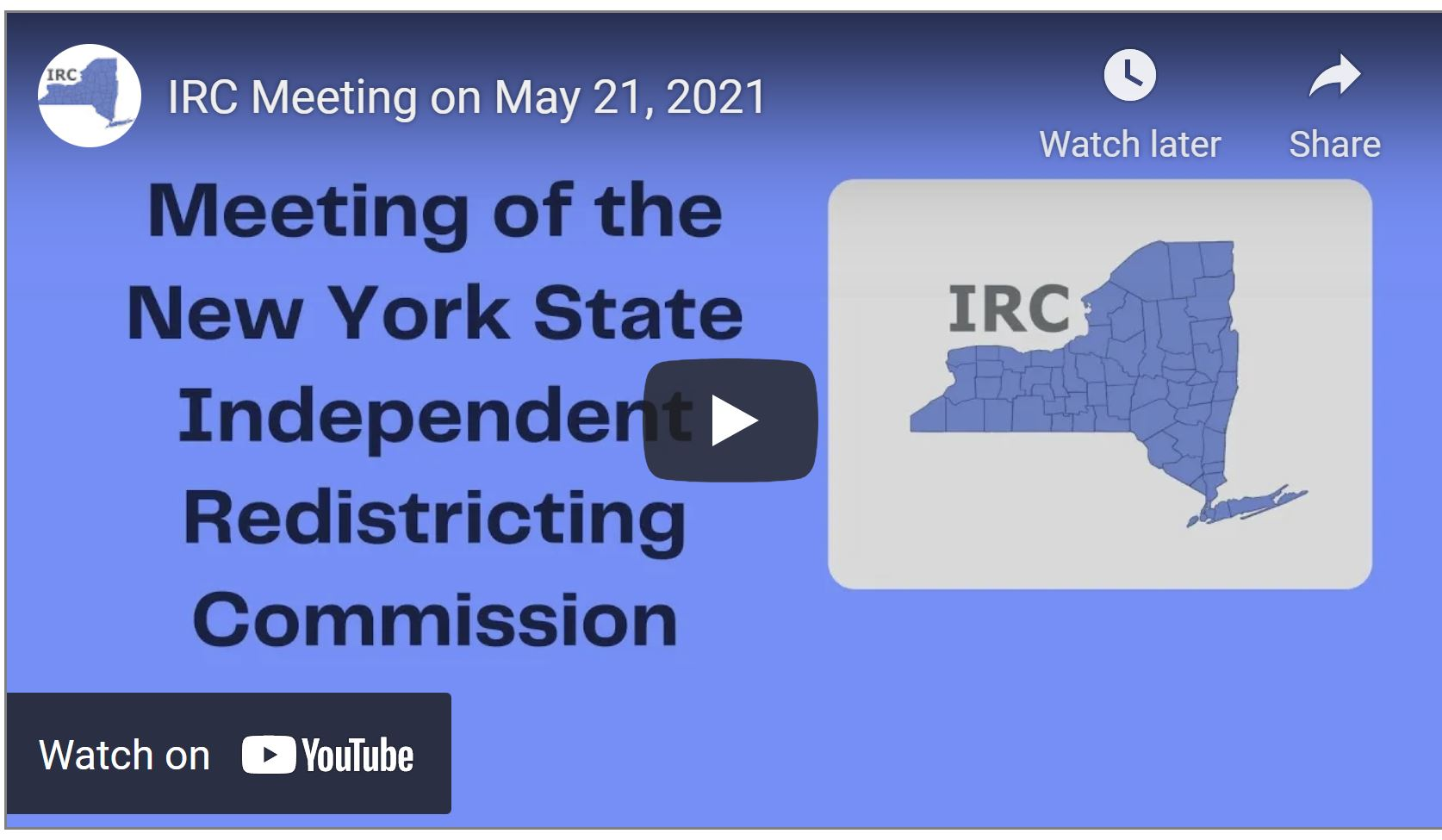 Placecard saying Meeting of the New York State Independent Redistricting Committee