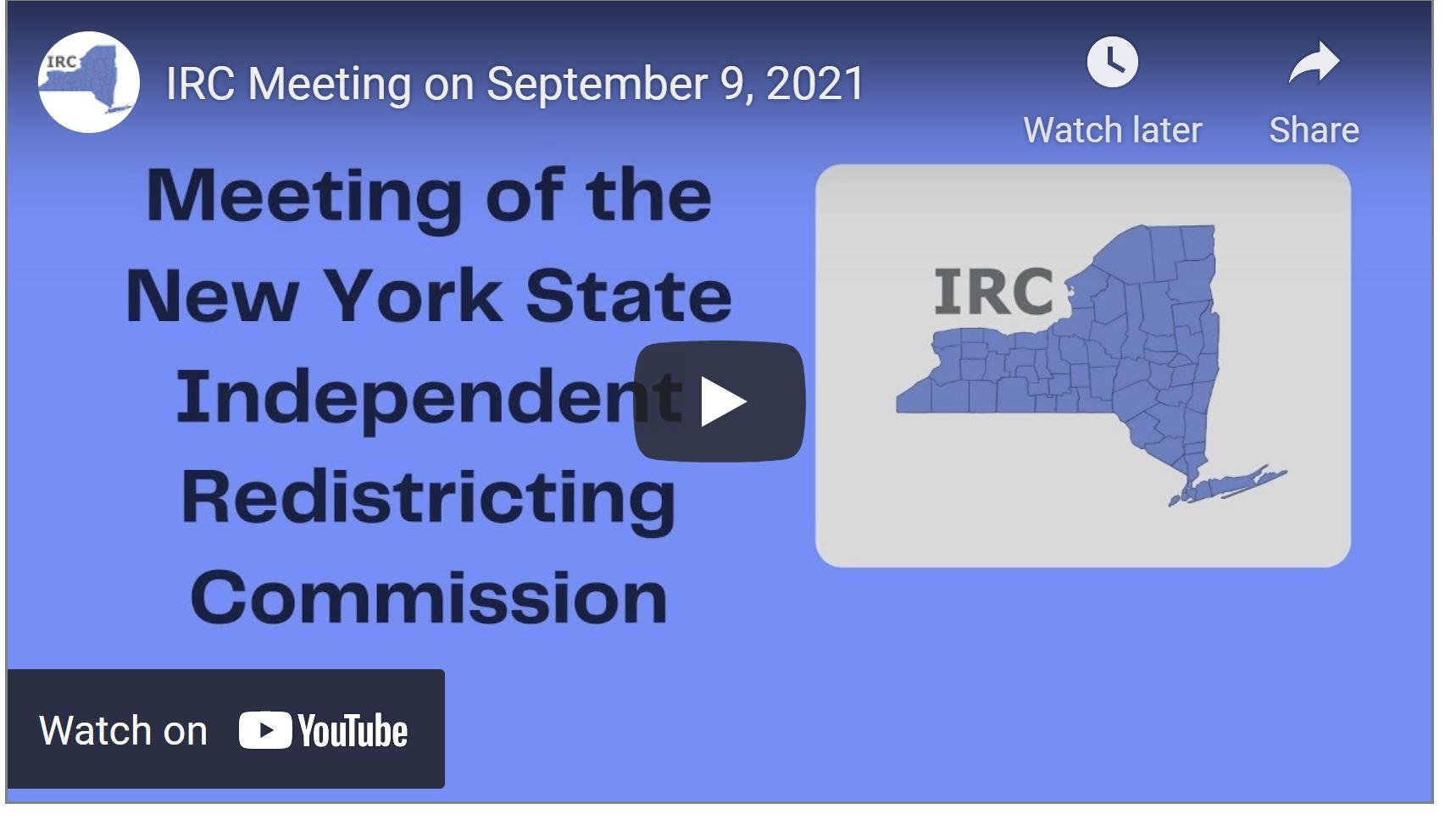 September 9th IRC Meeting