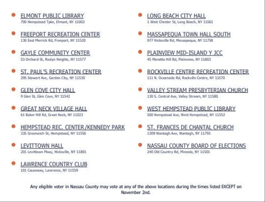 Voting Locations in Nassau 2021
